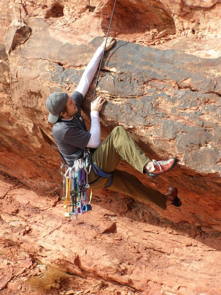 Rock Climbing Photo: This is the crux, bouldery, first move on the rout...