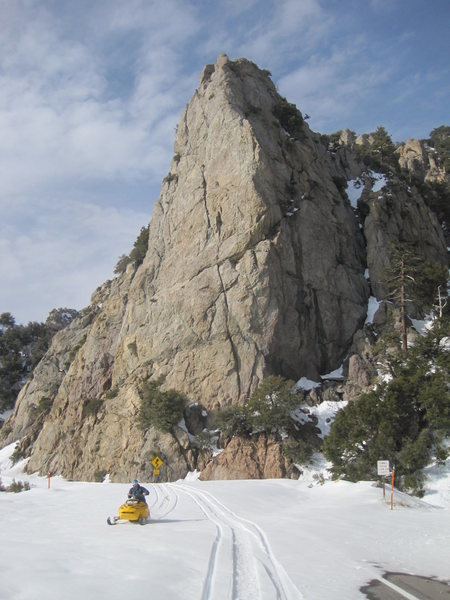 Rock Climbing Photo: Snowmobiling on Angeles Crest in front of the Crag...