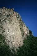 Rock Climbing Photo: Mota Wall as seen from the road or creekbesd below...