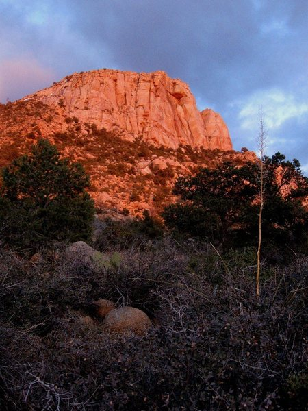 Last light falls on the last day of the season as Granite Mountain closes to allow for peregrine nesting.