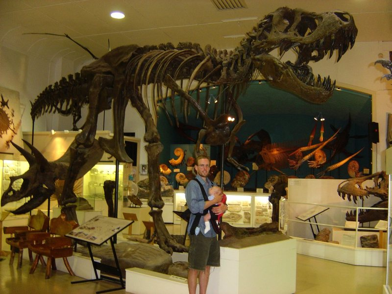 With the boy (in July 05) at the natural history museum in Hill City, SD.  Fun place to kill a half day if it's rainy or whatever in the Black Hills.