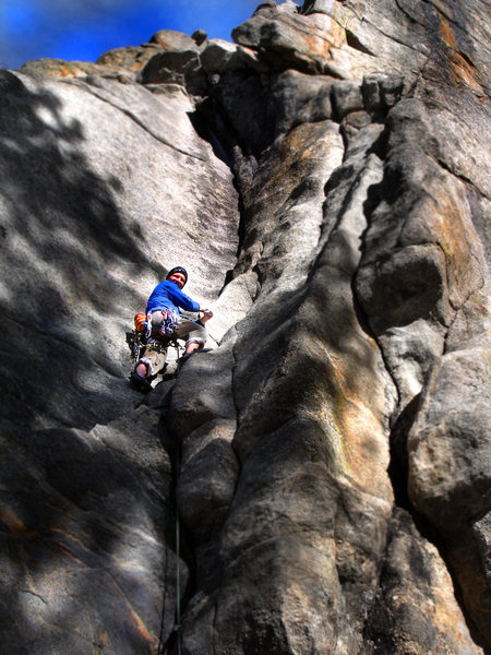 Rock Climbing Photo: Stan loving the cold January friction... and the i...