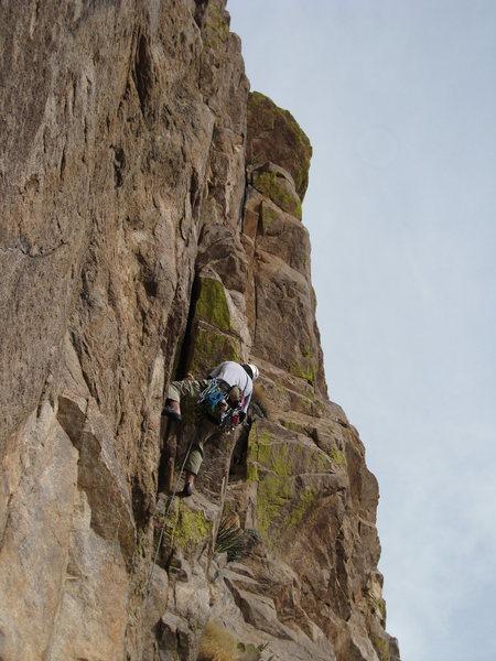 Rock Climbing Photo: Zack Libbin leads out on Lowenbrau Light. (the ang...