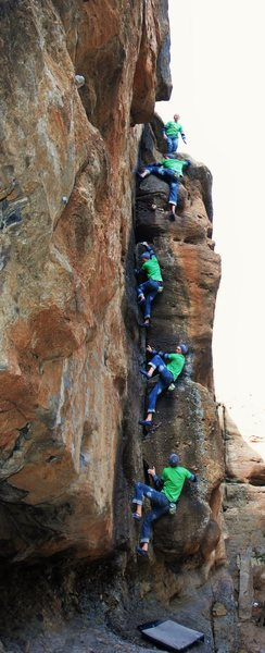 A sequence shot of Matt Lloyd soloing a unknown route in CWC.