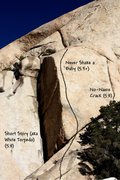 Rock Climbing Photo: Photo/topo for Short Story Crag, Joshua Tree NP