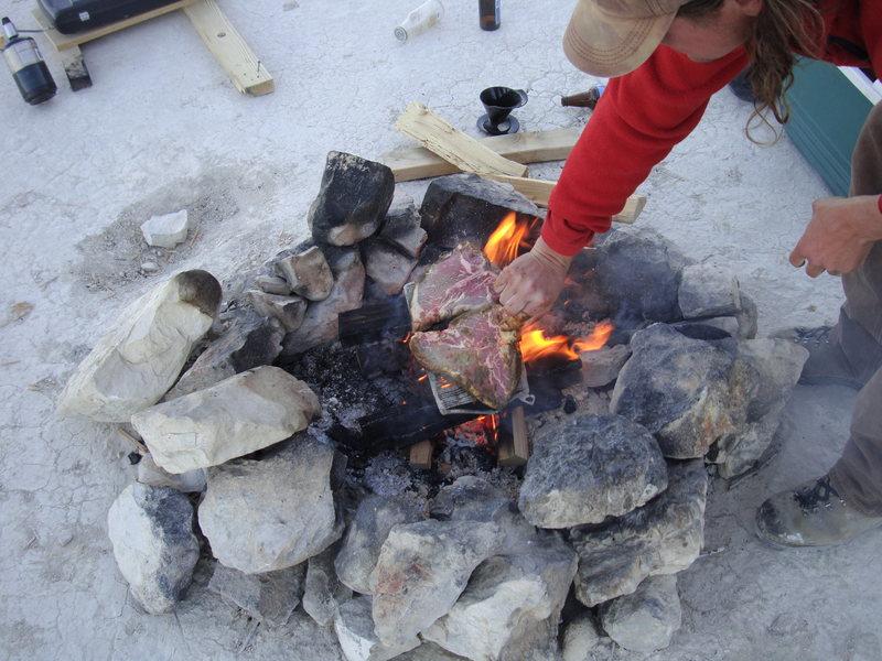 Rock Climbing Photo: Steaks on the fire.