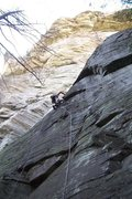 Rock Climbing Photo: Climbing a fantastic 5.10 variation first pitch ca...