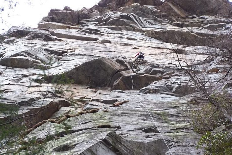 GB on an early recon ascent of the large Zen Canyon wall.