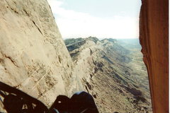 Rock Climbing Photo: The view out of the cave at the top of pitch 3. Th...