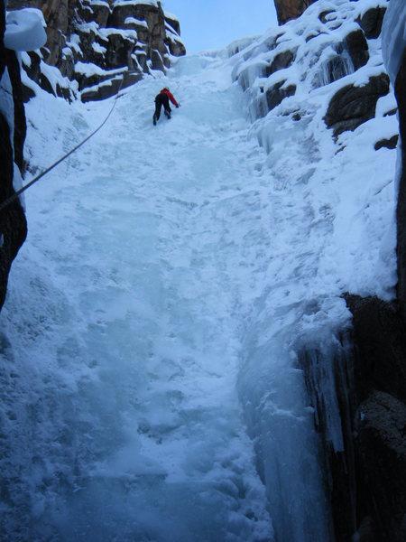 Full view. Climber: Lynda Christensen.