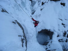 Rock Climbing Photo: Looking down into the pothole. Look at all that sn...