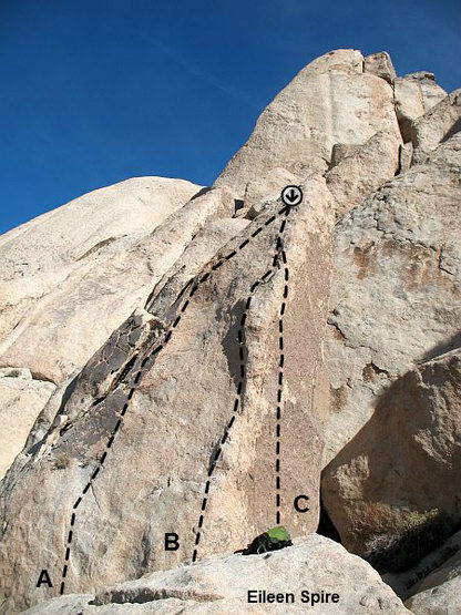 Rock Climbing Photo: Photo/topo for Eileen Spire, Joshua Tree NP  A. Ei...