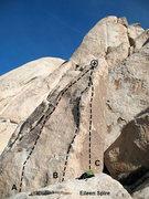 Rock Climbing Photo: Photo/topo for Eileen Spire, Joshua Tree NP  A. Ei...