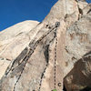 Photo/topo for Eileen Spire, Joshua Tree NP<br> <br> A. Eileen Left (5.8 TR)<br> B. Eileen (5.7)<br> C. Eileen Right (5.10b TR)
