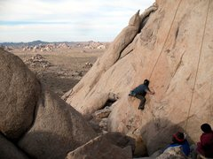 Rock Climbing Photo: Stretched out at the crux of Bulletproof (5.11d), ...