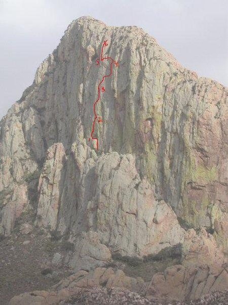 N. Face w/Rocktology route line and belays drawn in.  Photo courtesy of Riley Merline.