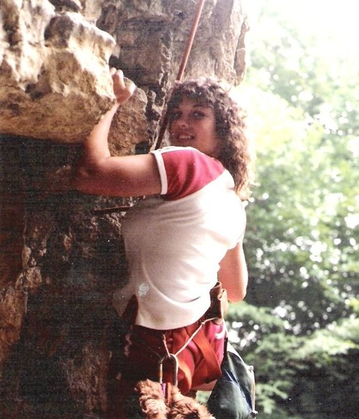 Wendy goes up 5.9 cave corner route at Kankakee State Park, circa 1982.