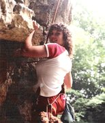 Rock Climbing Photo: Wendy goes up 5.9 cave corner route at Kankakee St...