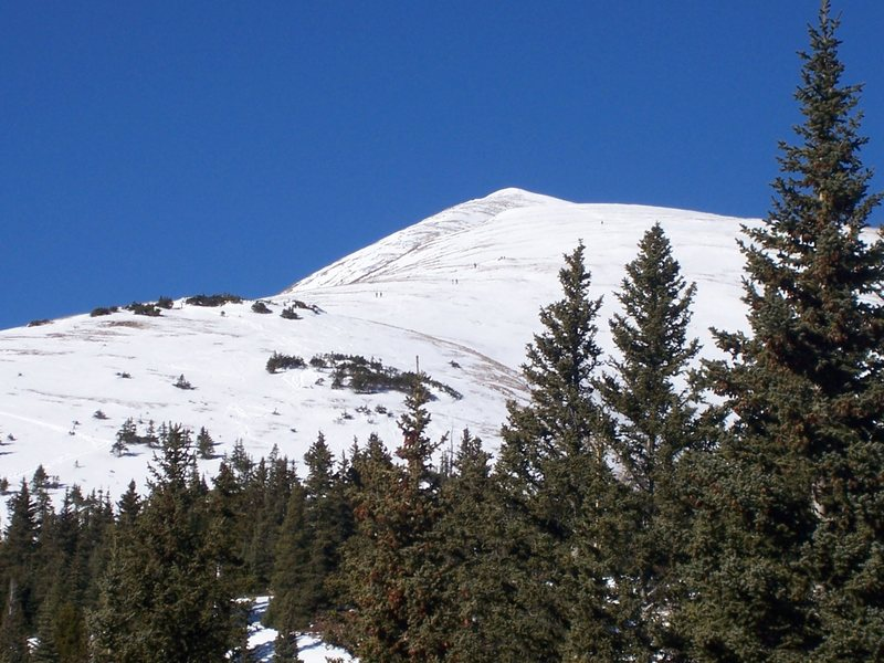 Beautiful view of the east ridge of Quandary peak, 14,200. Wish I'd brought skis!!!