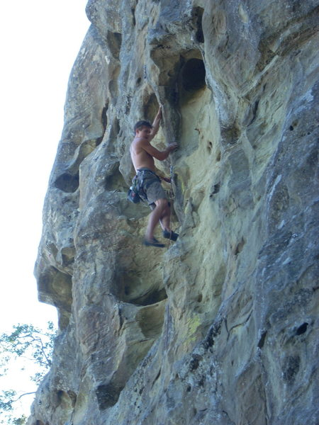 Rock Climbing Photo: Great buckets up top. Backward Evolution.