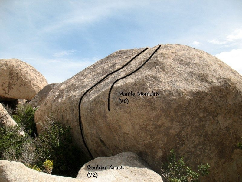 Rock Climbing Photo: Photo/topo for Boulder Crack Rock, Joshua Tree NP