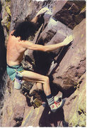 Rock Climbing Photo: Derek Hersey 3rd-classing Rain.... Old photo, poor...