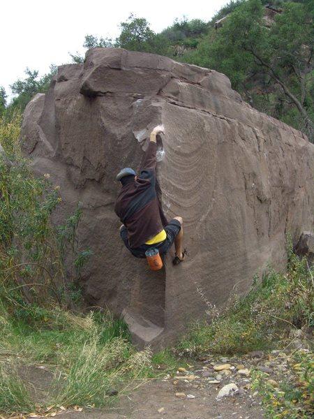 Arete on Wave Boulder.