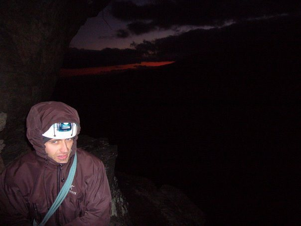 Rock Climbing Photo: Matthew settling in for a cold night