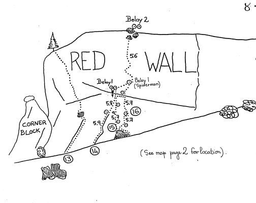 Rock Climbing Photo: This is the old Red Wall topo courtesy of Bob Broi...