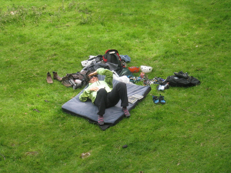 Reith chilling at the base of Witches Quarry, Downham, Lancashire (UK)