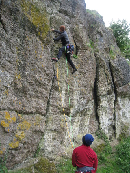 Brad leading, Amelia with the belay - Witches Quarry