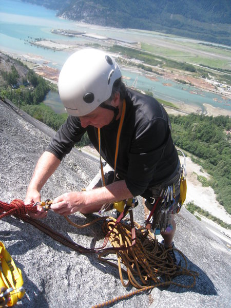 Ray readying the belay for pitch 4
