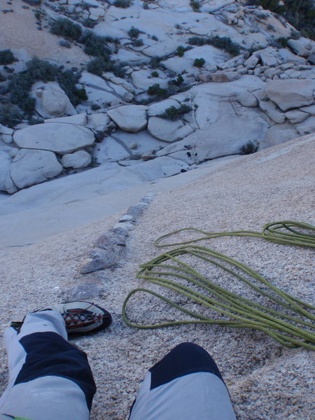Rock Climbing Photo: Looking down off second pitch
