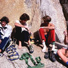 Climbing in the 80s.<br> Left to right: Yabo, Peter Mayfield, Werner Braun and Dave Yerian.