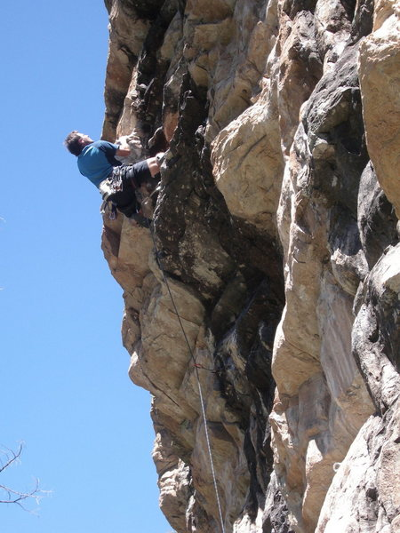 Dan going for FA on a new route left of Burnt on Fire Wall