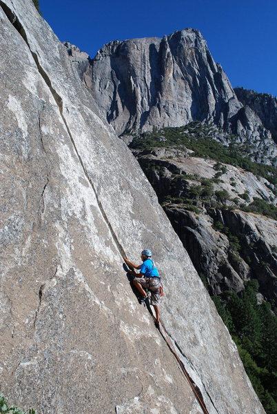 Rock Climbing Photo: Ed Jaramillo starts up Commitment,on his 50th b-da...