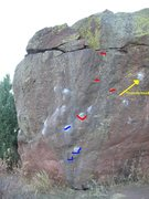 Rock Climbing Photo: Hickey's (stand) uses the red holds. Cannibal Danc...