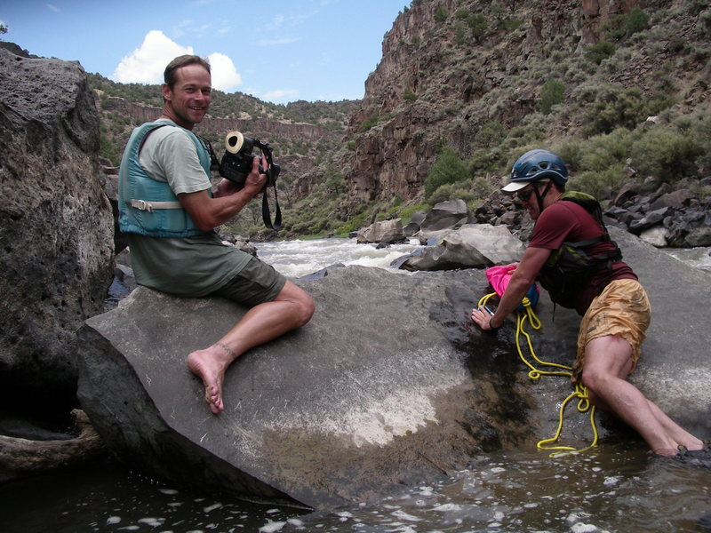 Vali and Mike filming the white water sequence for A Gorgeous Day. FoleyPhoto