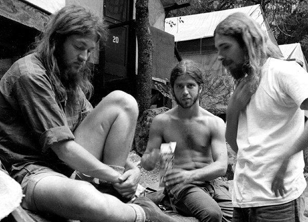 Yosemite derelicts 1975. Errett Allen, Mike Corbett and Blitzo.<br> Photo by Blitzo.