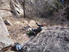 Rock Climbing Photo: A happy belayer is a good belayer.  Mark at Hawk E...