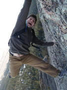 Rock Climbing Photo: Said feeling the exposure on Seal Rock.