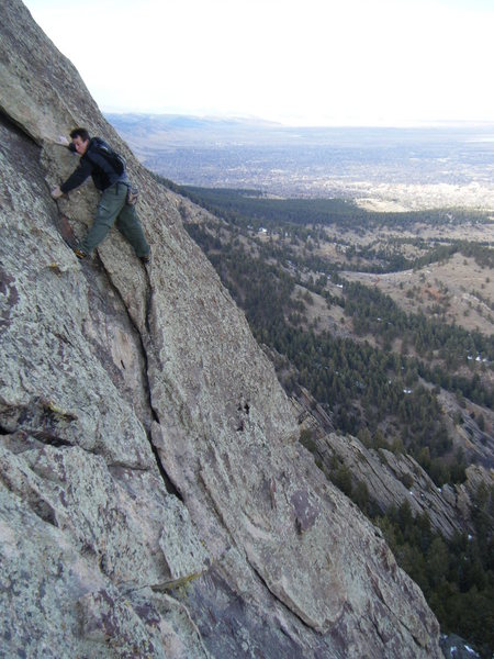 "Rock Climbing Photo: Downclimbing back to the ""elbow"" on Seal..."