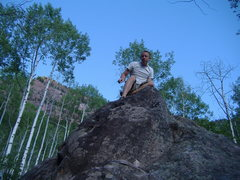 Rock Climbing Photo: Now, how to get down?  Redstone Boulders with Fran...