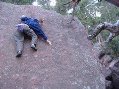 Rock Climbing Photo: Slabbin' on the Sputnik Boulder.