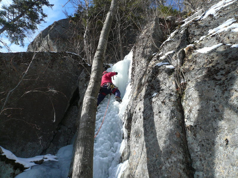 Rock Climbing Photo: placing the first screw on the FA