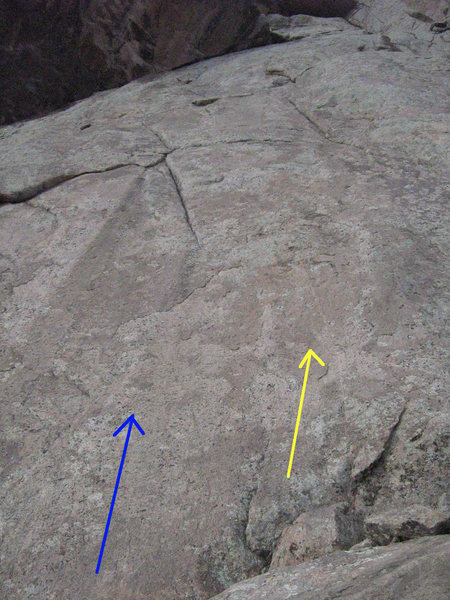 Grey Rat Rocksickle - Blue; Shadow Dance - Yellow.  Climb the face up to the left-angling crack above.