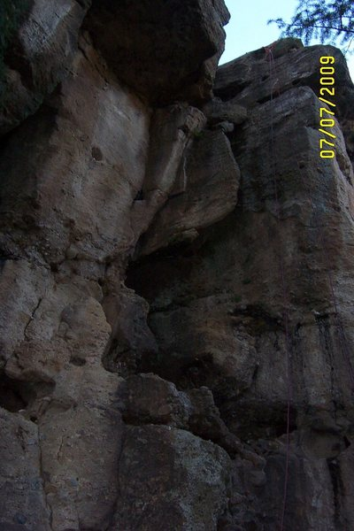 The Way Out on the neanderthal wall.  Nice long stretch of easy climbing at Castlewood.  Great place for TR achors.