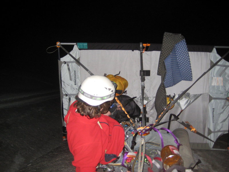 Setting up the portaledge on our second night. We were under the Mark of Zorro roof and didn't need the rainfly.