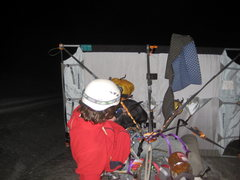 Rock Climbing Photo: Setting up the portaledge on our second night. We ...