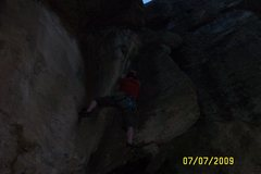 Rock Climbing Photo: Paul up the flake